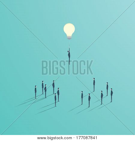 Creative idea best solution business vector concept. Businessman flying on a light bulb as a symbol of creativity. Eps10 vector illustration.