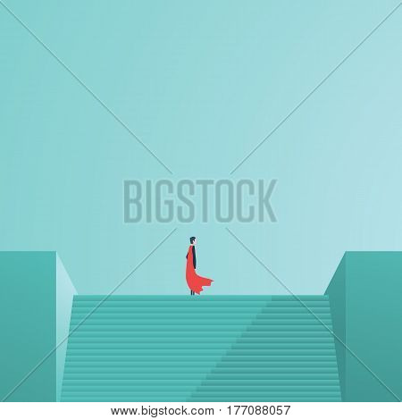 Businessman superhero standing on top of stairs as a symbol of business leadership, career success, ambition and achievement. Eps10 vector illustration.