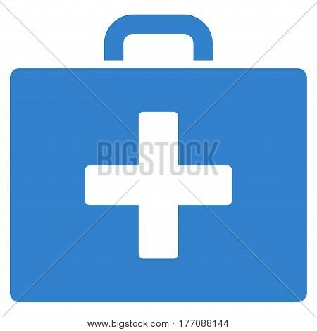 First Aid Bag vector icon. Flat cobalt symbol. Pictogram is isolated on a white background. Designed for web and software interfaces.