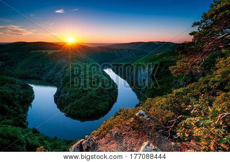 Vltava River Horseshoe Meander. Prague, Central Bohemia, Czech Republic.