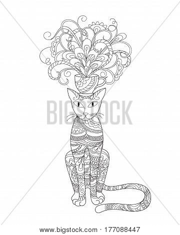 Hand drawn ornamental cat in zen style with doodle flowers for decorate stationary dishes porcelain ceramics adult coloring book. eps 10