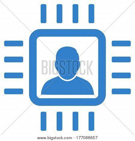 Neuro Processor vector icon. Flat cobalt symbol. Pictogram is isolated on a white background. Designed for web and software interfaces.