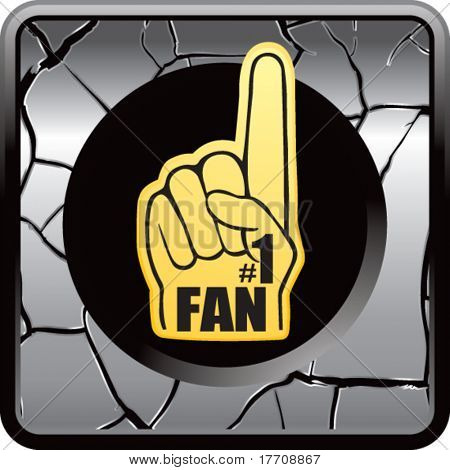 fan hand on silver cracked web button