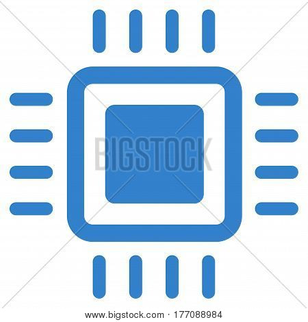 Processor vector icon. Flat cobalt symbol. Pictogram is isolated on a white background. Designed for web and software interfaces.