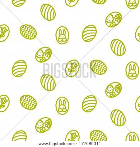 Easter outline icon seamless vector pattern. Line green style monochrome eggs background.