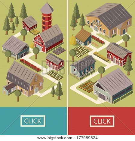Farm isometric vertical banners with house barn shed and silo garden beds and trees isolated vector illustration