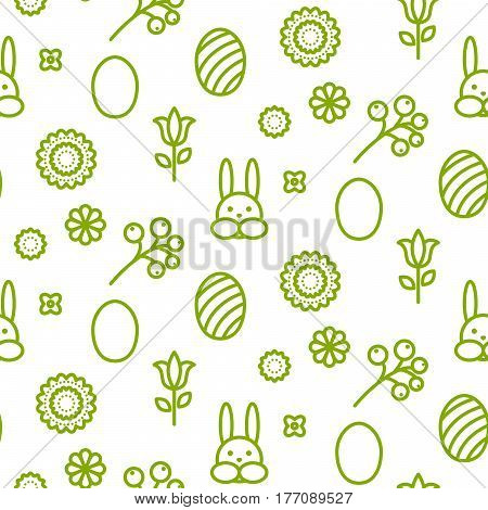 Happy Easter outline icon seamless vector pattern. Line green style monochrome egg and bunny background.