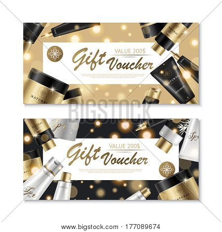 Two horizontal cosmetic vouchers set with gift card design beauty product images and luxury brand collection vector illustration