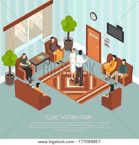 Clinic waiting room with medical worker and visitors sitting on brown armchairs and sofa isometric vector illustration
