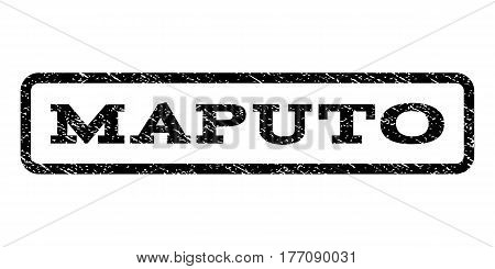 Maputo watermark stamp. Text caption inside rounded rectangle with grunge design style. Rubber seal stamp with scratched texture. Vector black ink imprint on a white background.