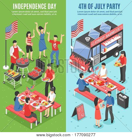 Two vertical barbecue 4 july banner set with independence day and 4th of july party descriptions vector illustration