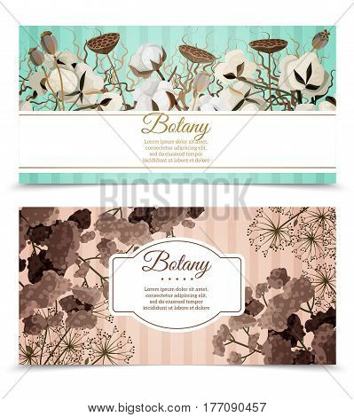 Two horizontal banners with printable cards decorated by cotton blossoms and dry flowers compositions flat vector illustration