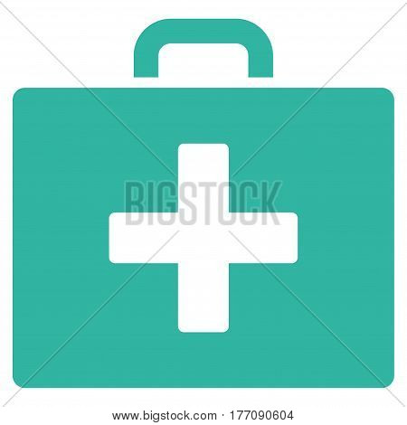 First Aid Bag vector icon. Flat cyan symbol. Pictogram is isolated on a white background. Designed for web and software interfaces.