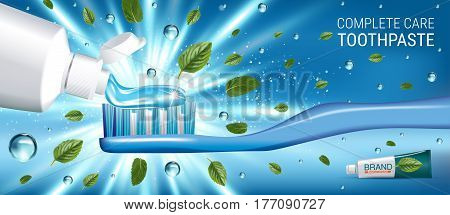 Antibacterial toothpaste ads. Vector 3d Illustration with toothpaste and mind leaves. Horizontal banner with product.