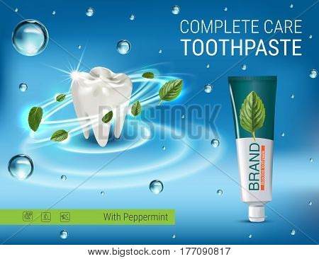 Antibacterial toothpaste ads. Vector 3d Illustration with toothpaste and mind leaves. Poster with product.
