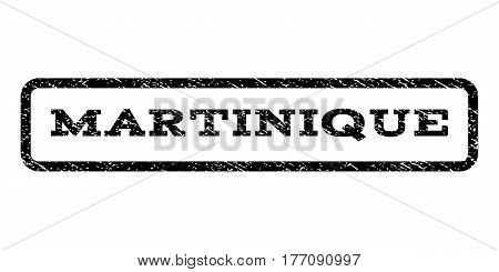 Martinique watermark stamp. Text caption inside rounded rectangle with grunge design style. Rubber seal stamp with scratched texture. Vector black ink imprint on a white background.