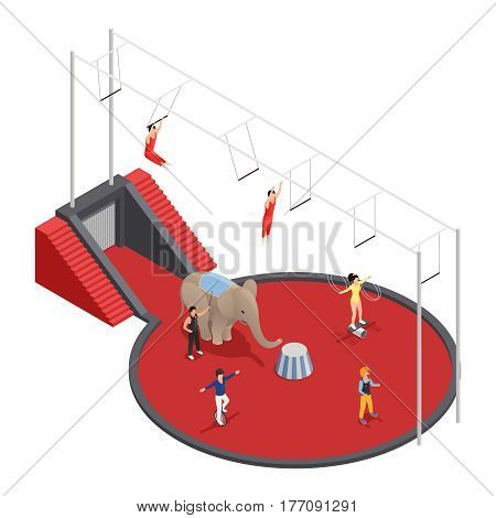 Circus isometric composition with aerial acrobats elephant with trainer and clown performing at arena vector illustration