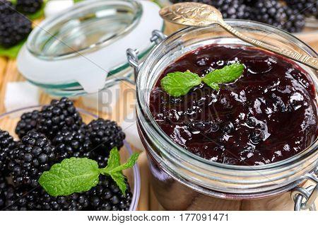 Blackberry jam in a jar. Homemade fruit jam