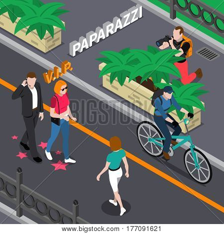 Paparazzi doing photo of celebrities during walking from bushes at street in summer isometric vector illustration