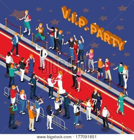 Vip party with celebrities on red carpet photographers admirers on blue background with stars isometric vector illustration