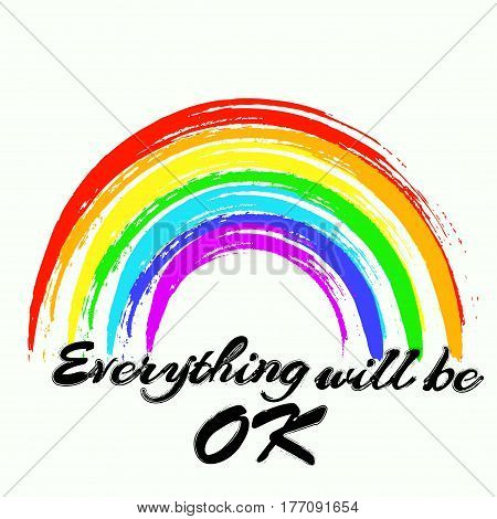 Vector illustration of a rainbow with the text