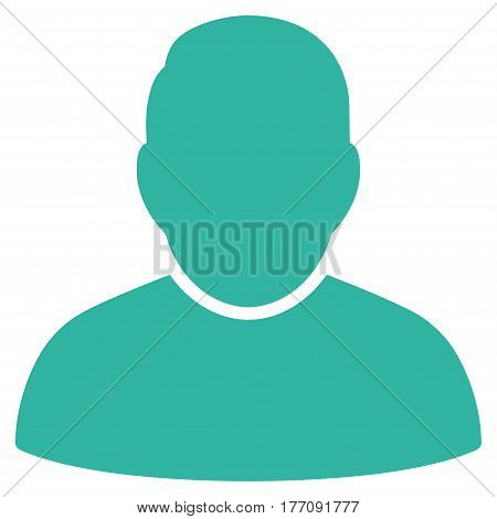User vector icon. Flat cyan symbol. Pictogram is isolated on a white background. Designed for web and software interfaces.