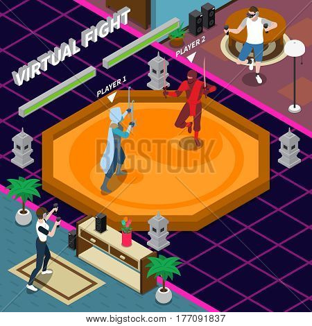 Virtual fight scene including players with electronic equipment gaming warriors on combat zone isometric vector illustration