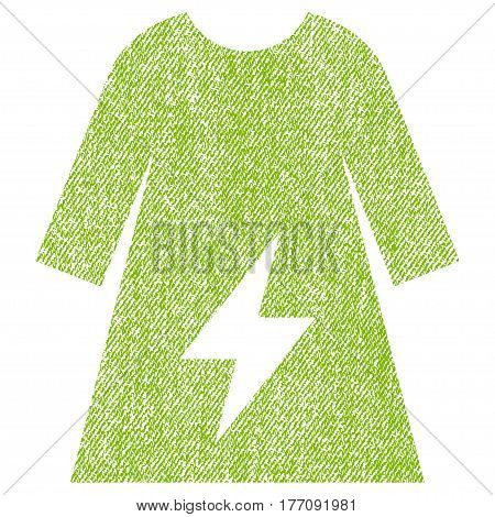 Electricity Female Dress vector textured icon for overlay watermark stamps. Fabric light green vectorized texture. Symbol with dust design. Rubber seal stamp with fiber textile structure.