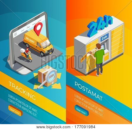 Delivery isometric vertical banners with transportation tracking and post parcel lockers compositions isometric vector illustration