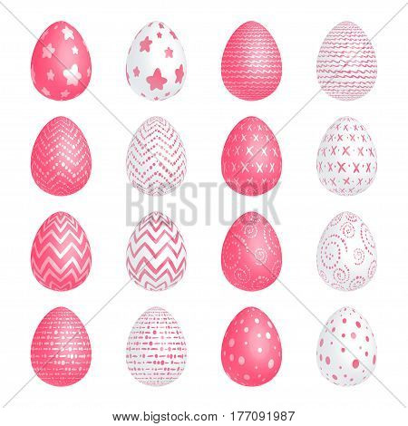 Set of Easter white and red eggs with different patterns on a white background. Isolated. Vector illustration