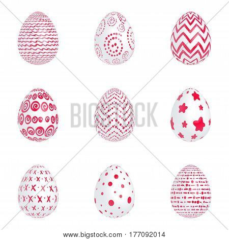 Set of Easter white eggs with red patterns on a white background. Isolated. Vector illustration