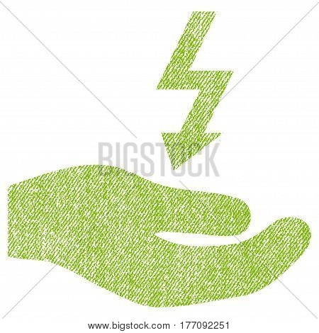 Electricity Supply Hand vector textured icon for overlay watermark stamps. Fabric light green vectorized texture. Symbol with scratched design. Rubber seal stamp with fiber textile structure.