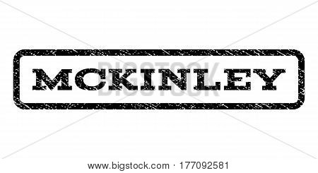 Mckinley watermark stamp. Text caption inside rounded rectangle frame with grunge design style. Rubber seal stamp with dirty texture. Vector black ink imprint on a white background.