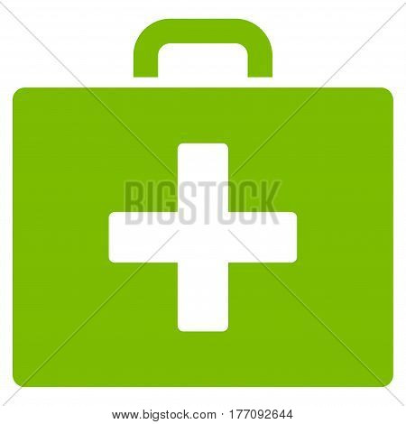 First Aid Bag vector icon. Flat eco green symbol. Pictogram is isolated on a white background. Designed for web and software interfaces.