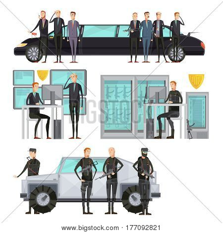 Intelligence agency colored flat composition with security and cars protection and scanning vector illustration