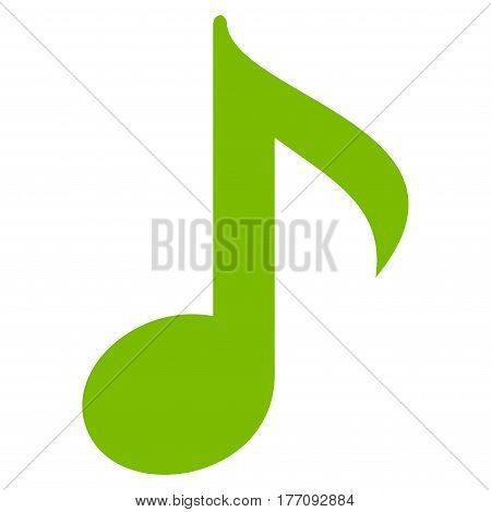 Musical Note vector icon. Flat eco green symbol. Pictogram is isolated on a white background. Designed for web and software interfaces.