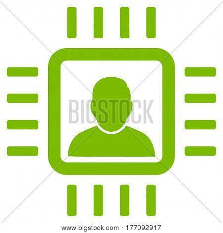 Neuro Processor vector icon. Flat eco green symbol. Pictogram is isolated on a white background. Designed for web and software interfaces.