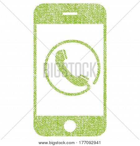 Phone vector textured icon for overlay watermark stamps. Fabric light green vectorized texture. Symbol with dust design. Rubber seal stamp with fiber textile structure.