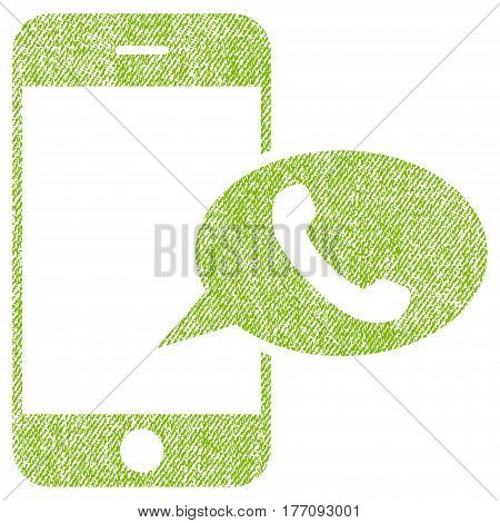 Smartphone Call Balloon vector textured icon for overlay watermark stamps. Fabric light green vectorized texture. Symbol with unclean design. Rubber seal stamp with fiber textile structure.