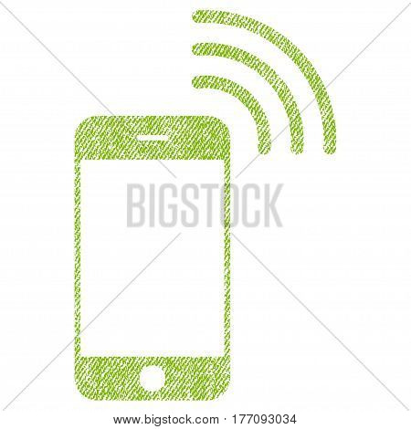 Smartphone Call vector textured icon for overlay watermark stamps. Fabric light green vectorized texture. Symbol with unclean design. Rubber seal stamp with fiber textile structure.