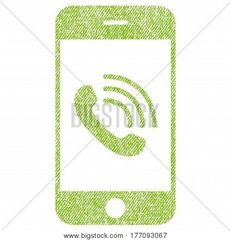 Smartphone Call vector textured icon for overlay watermark stamps. Fabric light green vectorized texture. Symbol with dust design. Rubber seal stamp with fiber textile structure.