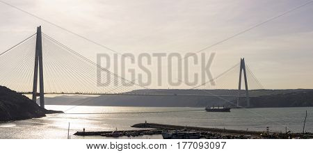 sunset time on Istanbul bosphorus new bridge