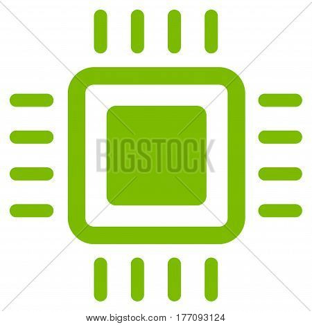 Processor vector icon. Flat eco green symbol. Pictogram is isolated on a white background. Designed for web and software interfaces.