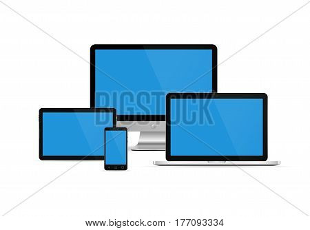 Electronic devices with blue screen. Vector illustration. Set of monitor tablet pcsmart phone and laptop.