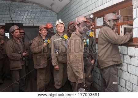 Makeevka Ukraine - June 11 2013: Miners of the mine