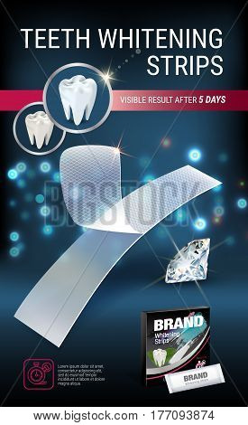 Professional Whitening Stripes ads. Vector 3d Illustration with dental bleaching whiter and diamonds. Vertical banner with product.