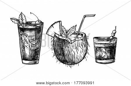 Hand drawn vector illustrations - Collection of alcoholic and non-alcoholic summer cocktails. Design elements in sketch style. Perfect for brochure cafe flyer bar menu and restaurant menu