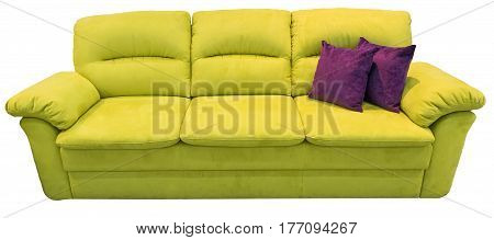 Green sofa with pillows. Soft couch. Isolated background.