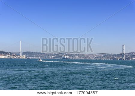 beautiful view of the Istanbul city from bosphorus