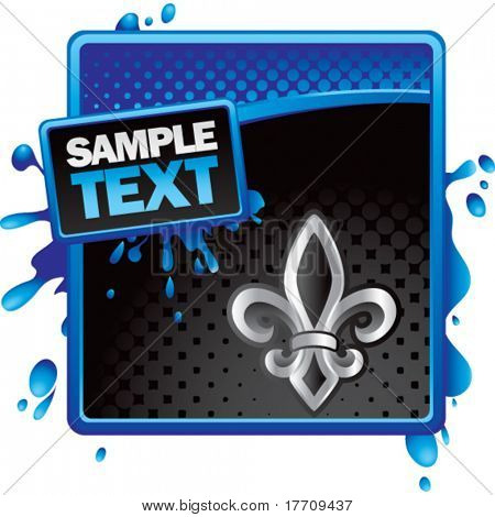 fleur de lis on blue and black grungy ad